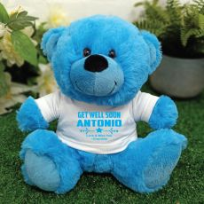 Get Well Teddy Bear Bright Blue