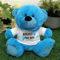 Page Boy Personalised Teddy Bear Bright Blue