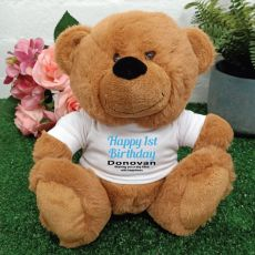 Personalised 1st Birthday Bear Brown Plush