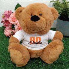 80th Teddy Bear Brown Personalised Plush