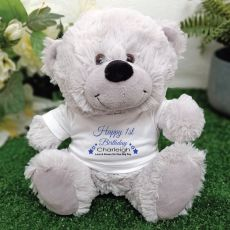 Personalised 1st Birthday Bear Grey Plush
