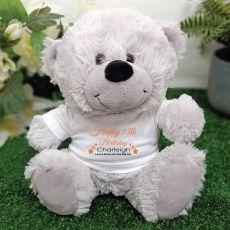 Personalised 13th Birthday Bear Grey Plush