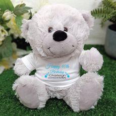 Personalised 40th Birthday Bear Grey Plush