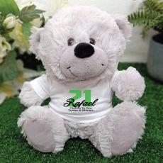 21st Teddy Bear Grey Personalised Plush