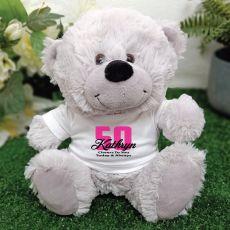 50th Teddy Bear Grey Personalised Plush