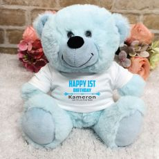 Personalised 1st Birthday Bear Light Blue Plush