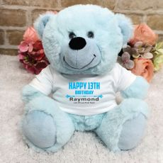 Personalised 13th Birthday Bear Light Blue Plush