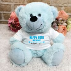 Personalised 80th Birthday Bear Light Blue Plush