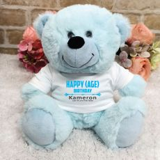 Personalised Birthday Bear Light Blue Plush