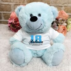 Personalised 18th Birthday Teddy Bear Light Blue