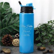 Teacher Engraved Water Drink Bottle Blue Heart