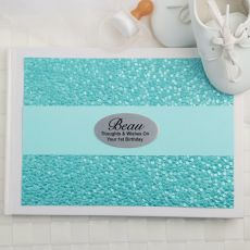 1st Birthday Guest Book Keepsake Album- Aqua Pebble