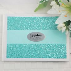 Graduation Guest Book Keepsake Album- Aqua Pebble