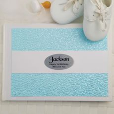 1st Birthday Guest Book Keepsake Album- Blue Pebble