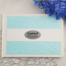 50th Birthday Guest Book Memory Album- Blue Pebble