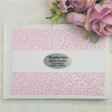 Memorial Funeral Guest Book Memory Album- Pink Pebble