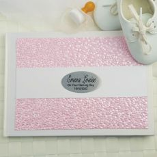 Naming Day Guest Book Keepsake Album - Pink Pebble