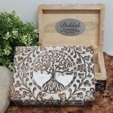18th Birthday Tree Of Life Boho Carved Wooden Box