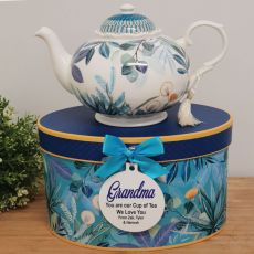 Teapot in Personalised Grandma Gift Box - Tropical Blue