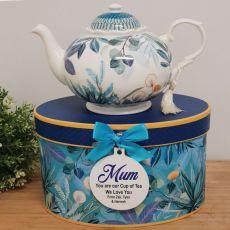 Teapot in Personalised Mum Gift Box - Tropical Blue