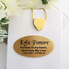 Gold Heart Memorial Urn Cremation Ash Necklace In Personalised Box