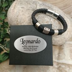 13th Birthday Braided Leather Bracelet Gift Boxed