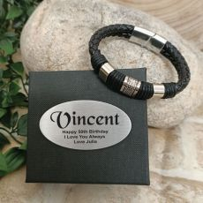 50th Birthday Braided Leather Bracelet Gift Boxed