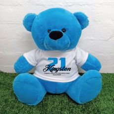 21st Birthday Personalised Bear with T-Shirt - Blue 40cm