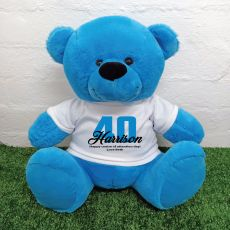 40th Birthday Personalised Bear with T-Shirt - Blue 40cm
