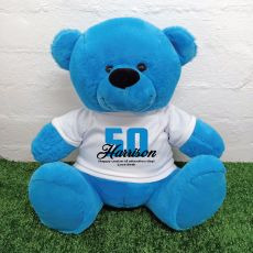 50th Birthday Personalised Bear with T-Shirt - Blue  40cm