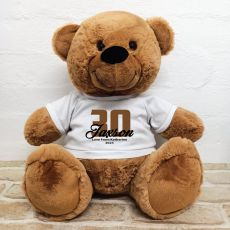 30th Birthday Personalised Bear with T-Shirt - Brown  40cm