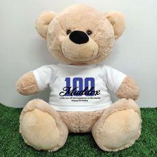 100th Birthday Personalised Bear with T-Shirt - Cream  40cm