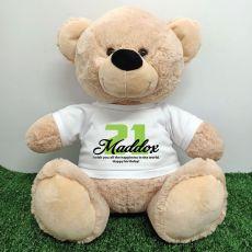 21st Birthday Personalised Bear with T-Shirt - Cream  40cm