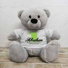 1st Birthday Personalised Bear with T-Shirt - Grey 40cm