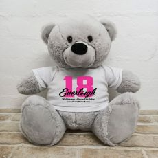 18th Birthday Personalised Bear with T-Shirt - Grey 40cm