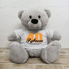 40th Birthday Personalised Bear with T-Shirt - Grey 40cm