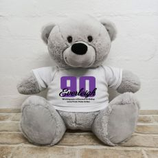 90th Birthday Personalised Bear with T-Shirt - Grey 40cm