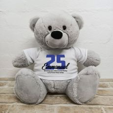 Birthday Personalised Bear with T-Shirt - Grey 40cm