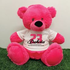 Birthday Personalised Bear with T-Shirt - Hot Pink 40cm