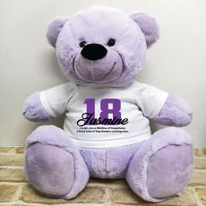 18th Birthday Personalised Bear with T-Shirt - Lavender 40cm