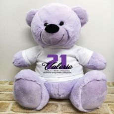 21st Birthday Personalised Bear with T-Shirt - Lavender 40cm