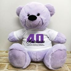 40th Birthday Personalised Bear with T-Shirt - Lavender 40cm