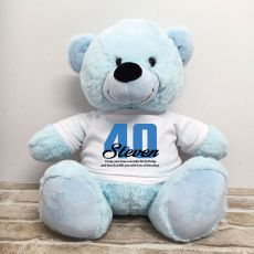40th Birthday Personalised Bear with T-Shirt - Light Blue 40cm