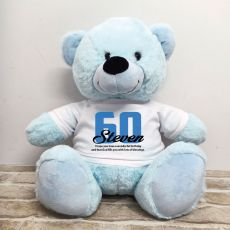 60th Birthday Personalised Bear with T-Shirt - Light Blue 40cm