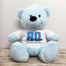 80th Birthday Personalised Bear with T-Shirt - Light Blue 40cm