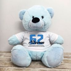 Birthday Personalised Bear with T-Shirt - Light Blue 40cm