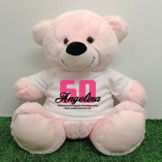 60th Birthday Personalised Bear with T-Shirt - Light Pink 40cm