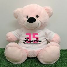 Birthday Personalised Bear with T-Shirt - Light Pink 40cm