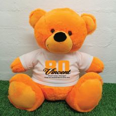 80th Birthday Personalised Bear with T-Shirt - Orange 40cm