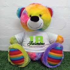 18th Birthday Personalised Bear with T-Shirt - Rainbow  40cm